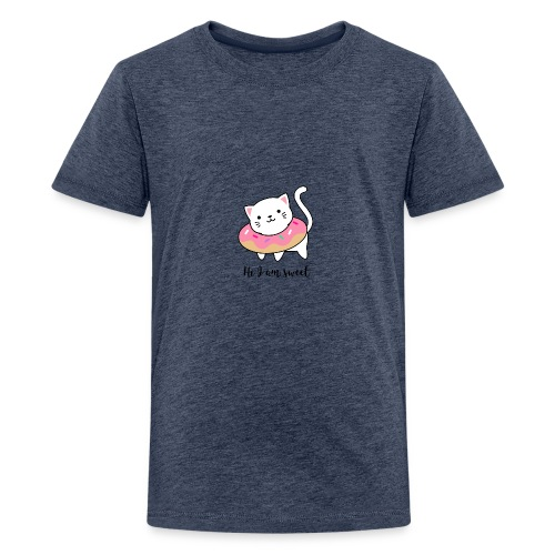 Süße Katze mit Donut - Teenager Premium T-Shirt