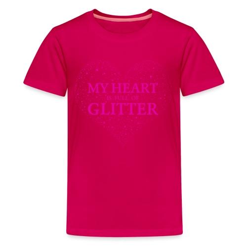 Herz Glitzer - Teenager Premium T-Shirt
