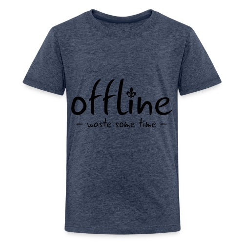 Waste some time offline – Lilie – Farbe wählbar - Teenager Premium T-Shirt