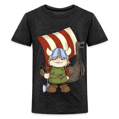 Wikinger Erik mit Schiff - Teenager Premium T-Shirt