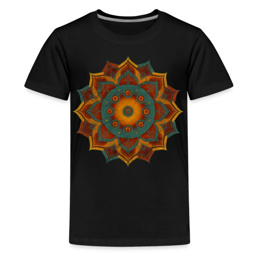 HANDPAN hang drum MANDALA teal red brown - Teenager Premium T-Shirt