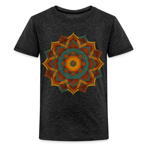 HANDPAN hang drum MANDALA teal red brown - Teenager Premium T-Shirt