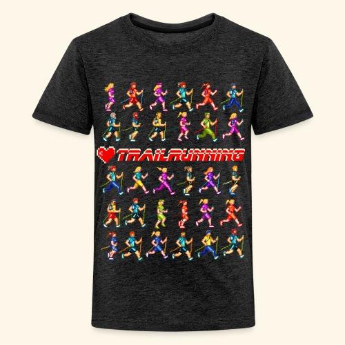 LOVE TRAILRUNNING PIXEL - Maglietta Premium per ragazzi