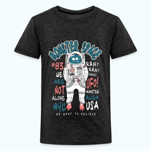 Little Monster In Space 80s Retro - Teenage Premium T-Shirt
