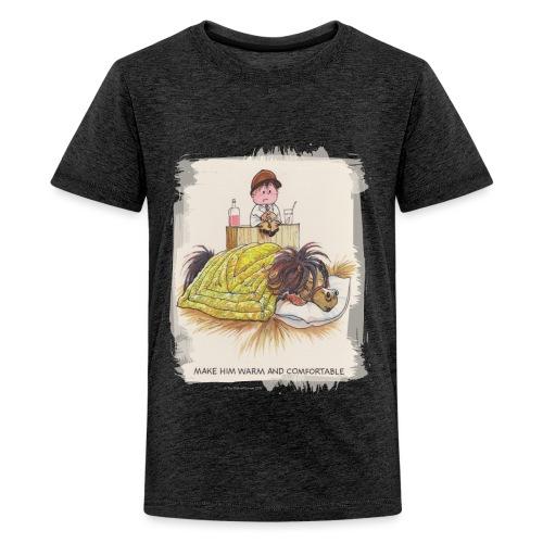 Thelwell Cartoon Pony liegt unter der Bettdecke - Teenager Premium T-Shirt