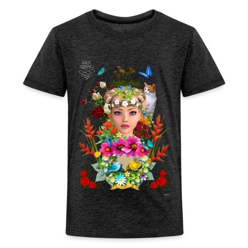 Lady spring by t-shirt chic et choc (dark & black) - T-shirt Premium Ado