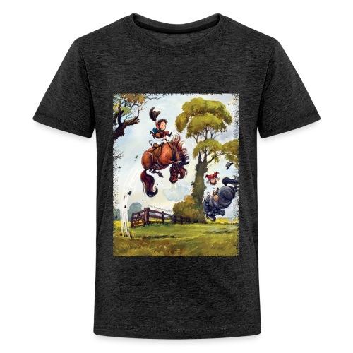 Thelwell Cartoon Pony Rodeo - Teenager Premium T-Shirt