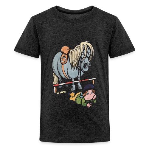 Thelwell Reiterin Liegt Hinter Dem Sprung - Teenager Premium T-Shirt
