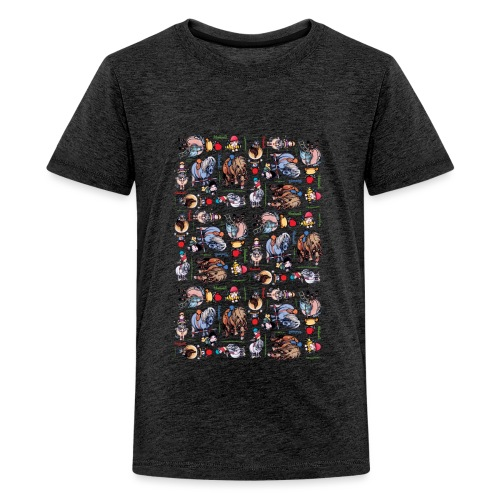 Thelwell Cartoon buntes Pony Muster - Teenager Premium T-Shirt