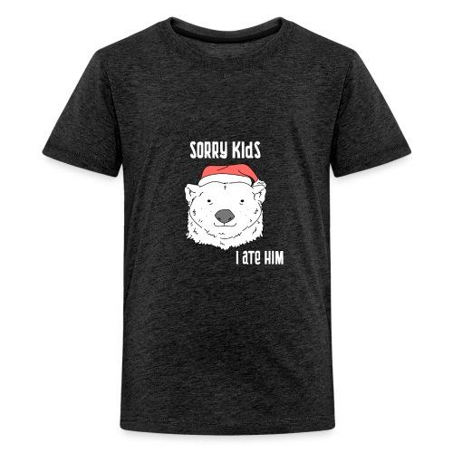 Funny Christmas gift. Bear ate Santa Claus joke. - Teenage Premium T-Shirt
