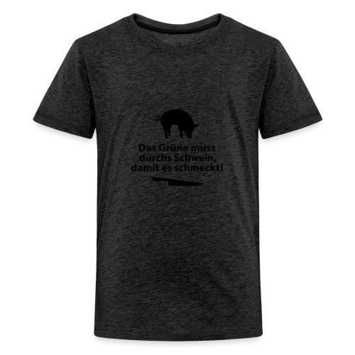 Gemüse Grill Schwein Fleisch Vegetarier Steak - Teenage Premium T-Shirt