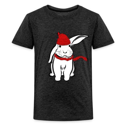 Kaninchen Hase Mütze Schal Schlappohr Schneehase - Teenager Premium T-Shirt