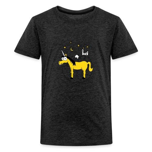 Einhorn mit Burg, Unicorn, Märchen, Pferd, Sterne - Teenager Premium T-Shirt