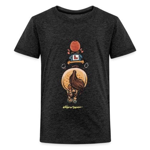 Thelwell Cartoon Reitanfängerin Im Galopp Mit Pony - Teenager Premium T-Shirt