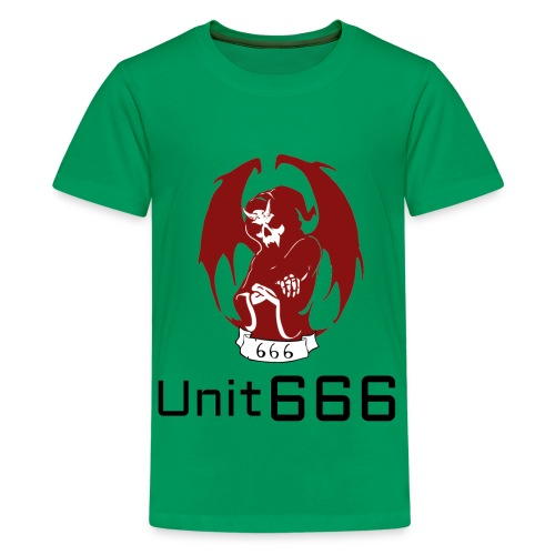 Unit 666 Front Print with text type 2. - Teenage Premium T-Shirt