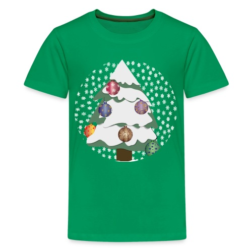 Christmas tree in snowstorm - Teenage Premium T-Shirt