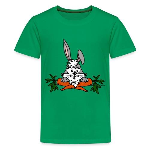 Lapin avec carottes, végétarien, végan - T-shirt Premium Ado