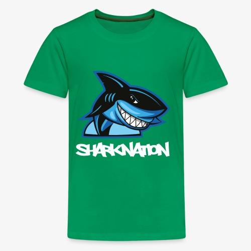 SHARKNATION / Weiße Buchstaben - Teenager Premium T-Shirt