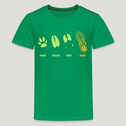 Fuchs, Reh, Wildschwein, Jäger, Trittsiegel, Fährt - Teenager Premium T-Shirt