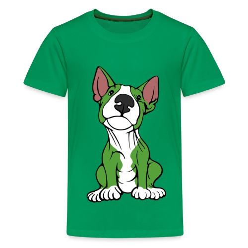 Cheeky Bull Terrier Green - Teenage Premium T-Shirt