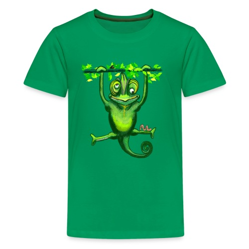 Hunting green chameleon print / design - Teenage Premium T-Shirt