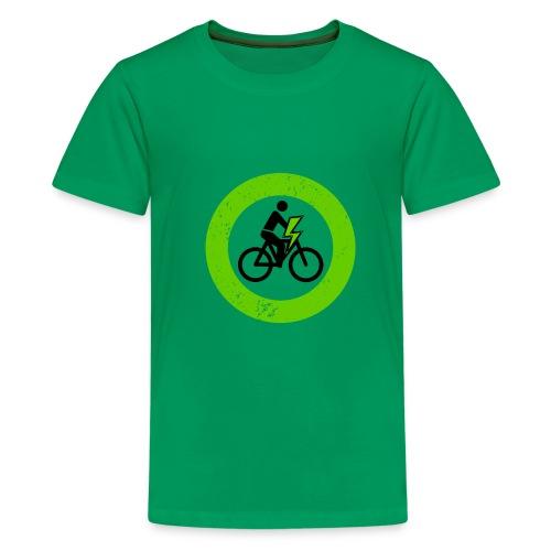 e Bike grün schwarz Schild Logo Emblem - Teenager Premium T-Shirt