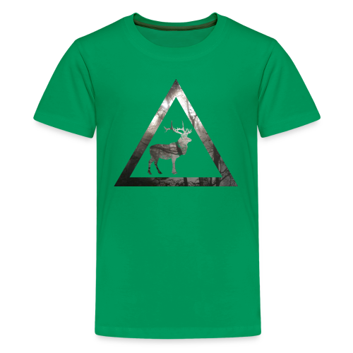 Mystical Forest Deer Triangle - Teenager Premium T-Shirt