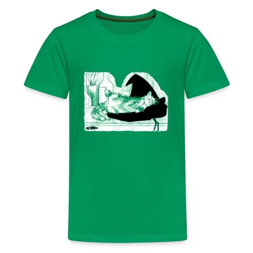Tyrrin Hexenkater auf Hut (grün) - Teenager Premium T-Shirt