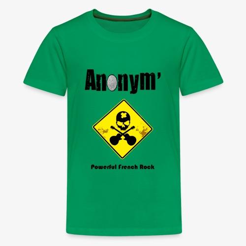 Logo Anonym' noir avec panneau jaune - T-shirt Premium Ado