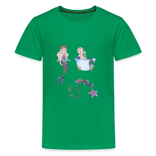 Badende Meerjungfrauen Seestern Prinzessin Fisch - Teenager Premium T-Shirt