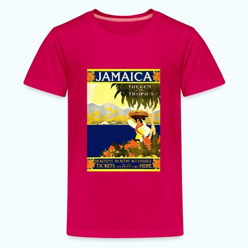 Jamaica Vintage Travel Poster - Teenage Premium T-Shirt