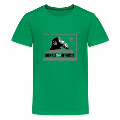 Monkey Surf Republic Flag - Teenage Premium T-Shirt