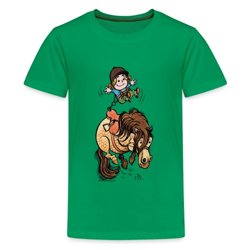 Thelwell Reiter Mit Gurt Und Buckelndes Pony - Teenager Premium T-Shirt