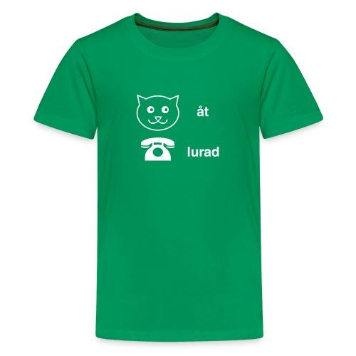 Katt åt telefon - Premium-T-shirt tonåring