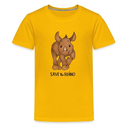 Save the Rhino - Teenage Premium T-Shirt