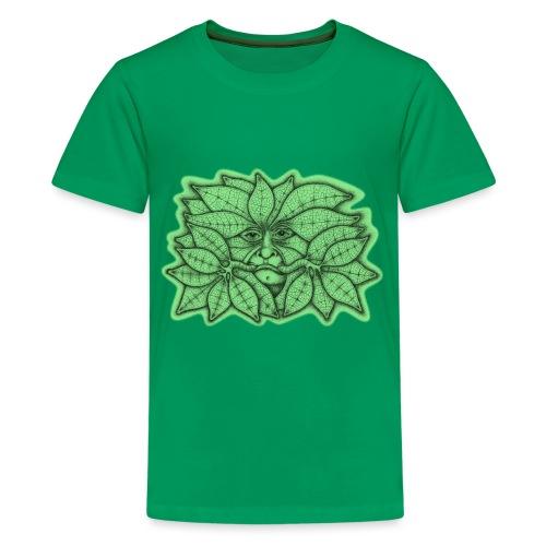 Green Man for Pagan Global Warming/Climate Change - Teenage Premium T-Shirt