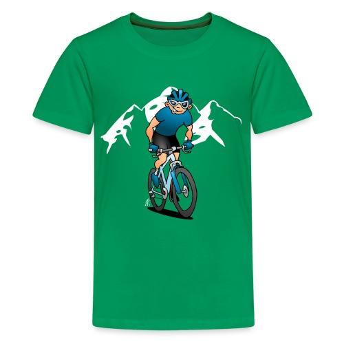 MTB - Mountain biker in the mountains - Teenage Premium T-Shirt