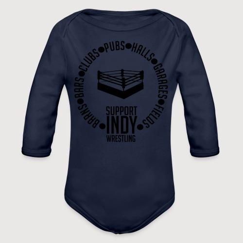 Support Indy Wrestling Anywhere - Organic Longsleeve Baby Bodysuit