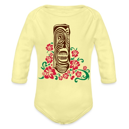 Tiki Totem with Hibiscus Flowers - Organic Longsleeve Baby Bodysuit