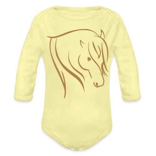 Pferdekopf Motiv Reitbekleidung - Baby Bio-Langarm-Body