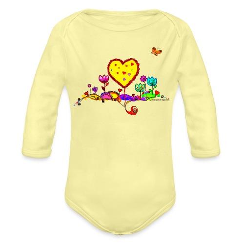 Blumengruß mit Herz - Baby Bio-Langarm-Body