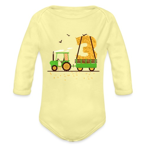Traktor mit Anhänger 3. Geburtstag Geschenk Drei - Baby Bio-Langarm-Body