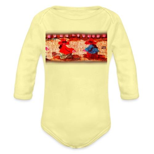 Dos Paisanitas tejiendo telar inca - Body orgánico de manga larga para bebé