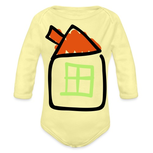 House Line Drawing Pixellamb - Baby Bio-Langarm-Body