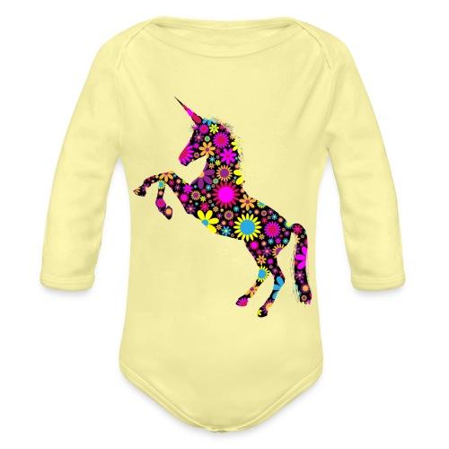 Unicorn-Floral - Body ecologico per neonato a manica lunga