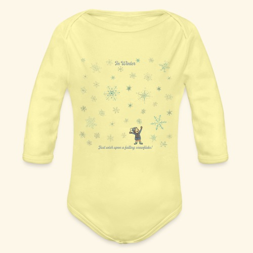 Just wish upon a falling snowflake in Winter - Baby Bio-Langarm-Body