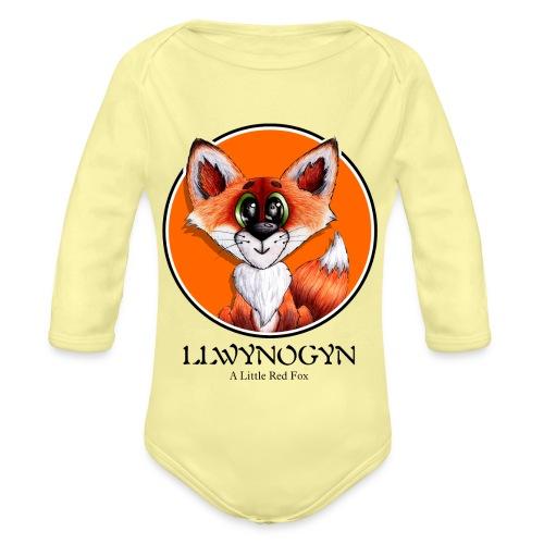 llwynogyn - a little red fox (black) - Vauvan pitkähihainen luomu-body