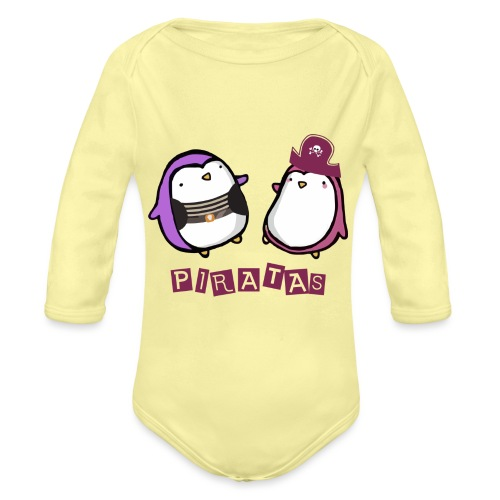 PINGUINOSPIRATAS - Body orgánico de manga larga para bebé