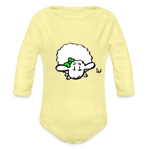 Baby Lamb (green) - Baby bio-rompertje met lange mouwen