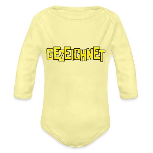Gezeichnet Logo Gelb - Baby Bio-Langarm-Body
